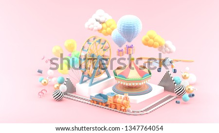 Carousel, Ferris wheel, train, balloon and plane surrounded by colorful balls on a pink background.-3d rendering.