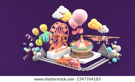 Carousel, Ferris wheel, train, balloon and plane surrounded by colorful balls on a purple background.-3d rendering.