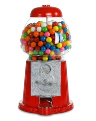 Carousel Gumball Machine.  Glass gum ball dispenser.  Coin Bank.  Bubblegum machines uses quarters.  Fun bright colors.  Isolated White background.