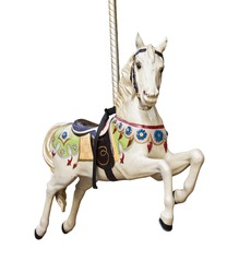 Carousel horse isolated on white background