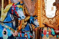 Carousel horses close up