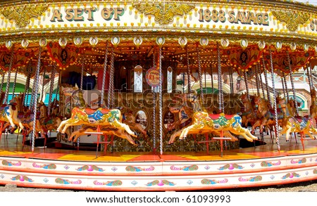 Carousel, traditional fairground ride.