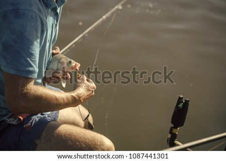 Carp, crucian carp, trout on fishhook, angling. Freshwater fish hooked on mouth in male hands, bait fishing. Bait, bait fishing, fish catching. Trophy, success achievement #1087441301