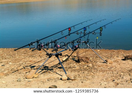 Carp fishing. Two angling scene. Looking along three carp rods towards a pond. #1259385736