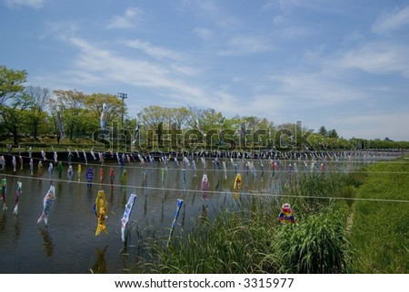 Carp Kites over the river, decoration on Children's Day, japan
