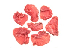 Carpaccio Top View Isolated On White Background. Marbled Beef Carpaccio On White Background, Overhead View.