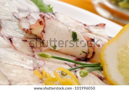 Carpaccio with octopus, closeup