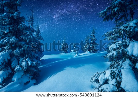 Carpathian mountain valley covered with fresh snow in a light of rising moon with. Fantastic milky way in a starry sky. Christmas winter night. #540801124