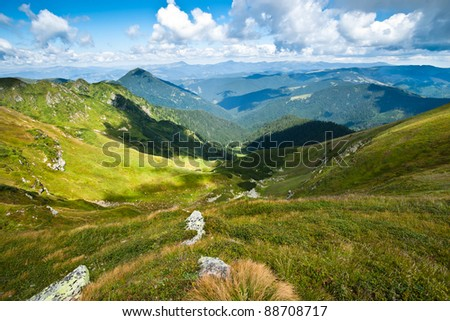 Carpathian mountains landscape in Ukraine and blue sky in summer