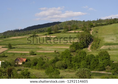 Carpathian mountains. Rural house at the foot of the mountain. Beautiful ukrainian landscape. Picturesque green hill and blue sky with fluffy white clouds.  #1292114605
