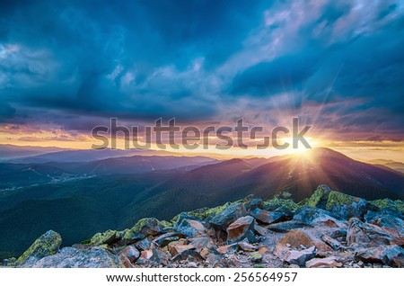 Carpathian mountains summer  sunset landscape with sun  and alpine pines