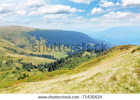 Carpathian summer views, mountain and the plain