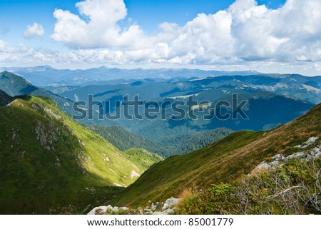 Carpathians landscape: on a top of mountain ridge during summer time