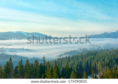 Stock Photo Carpathians Mountains at early winter morning