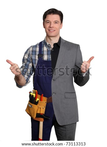 Carpenter and businessman on white background - stock photo