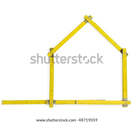 Carpenter rule showing a house shape against white background. With clipping path