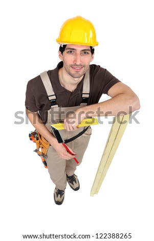 Carpenter standing isolated on white background