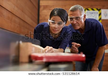 Carpenter Training Female Apprentice To Use Plane Foto stock ©