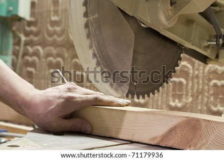 Carpentry. Carpenter working in his workshop - stock photo