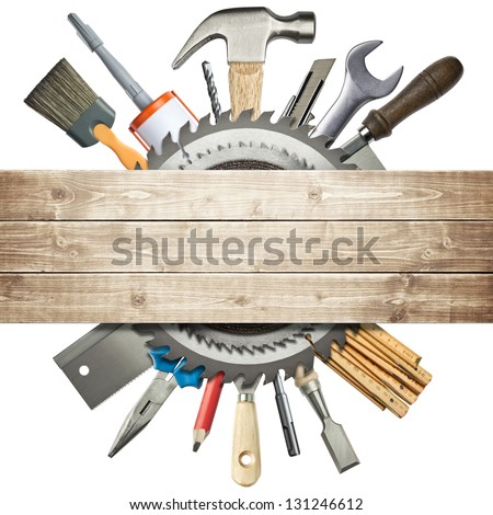Carpentry, Construction Collage. Tools Underneath Wooden Planks.