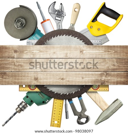 Carpentry, construction hardware tools collage. - stock photo
