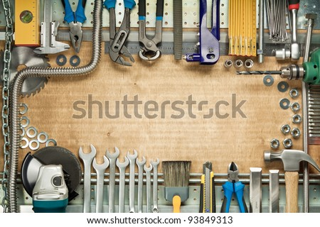 Carpentry, construction tools. Home improvement background.