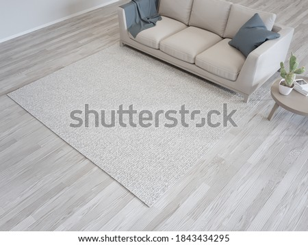 Carpet and sofa near white wall of bright living room in modern house or apartment. Home interior 3d rendering with parquet floor.