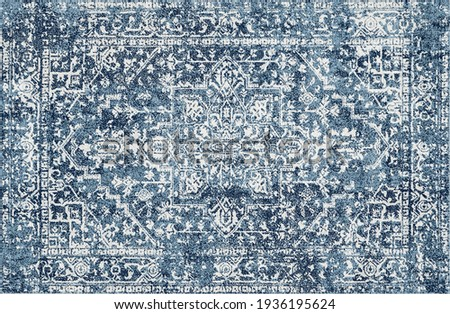 Carpet bathmat and Rug Boho Style ethnic design pattern with distressed texture and effect