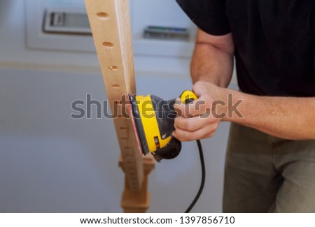 Carpeted in refinishing the stairwell of railing in a new home renovation. stock photo