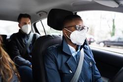 Carpool Car Ride Share Service In Face Mask