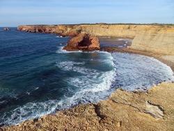 Carrapateira cliffs in Algarve, Portugal. Pontal de Carrapateira trail. Vicentine coast.