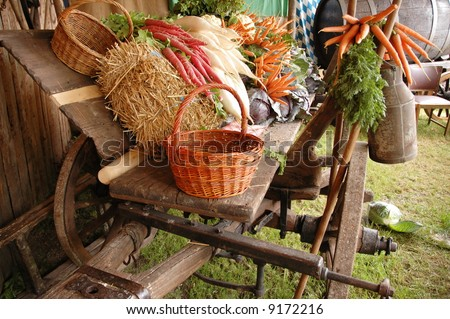 Carriage full of vegetables like carrots, cabbage, radish, garlick,
