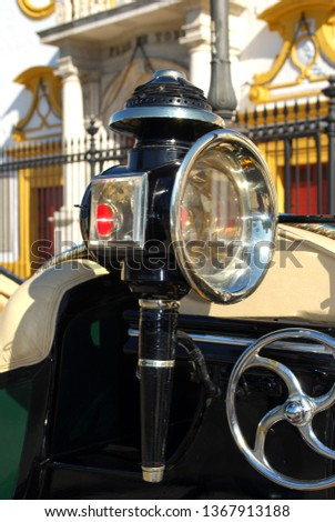 Carriage lamp on a horse drawn carriage outside the bullring entrance, Seville, Seville Province, Andalusia, Spain, Europe
