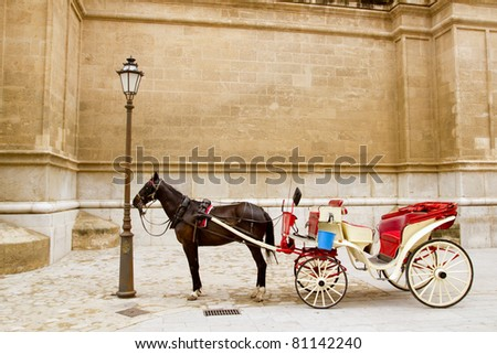 Carriage with horse in Majorca cathedral in Palma de Mallorca at Balearic islands - stock photo