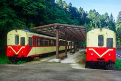 Carriages from the train in depot in Alishan Natural Park