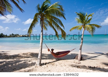 carribean - Man between two Palms in a Hammock - Martinique