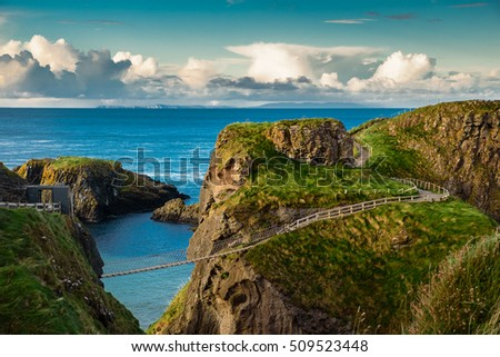 Carrick-a-rede  rope bridge, Famous place in Northern Ireland. Foto stock ©