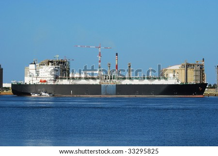 Carrier ship (LNG) and oil i gas factory in Spain