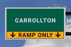 Carrollton logo. Carrollton lettering on a road sign. Signpost at entrance to Carrollton, USA. Green pointer in American style. Road sign in the United States of America. Sky in background