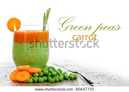 Carrot and green pea smoothie, healthy life concept with place for your text in the right
