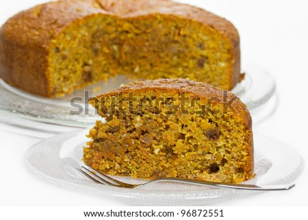 Carrot cake on a glass plate