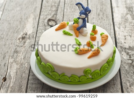 Carrot cake with bunny decoration