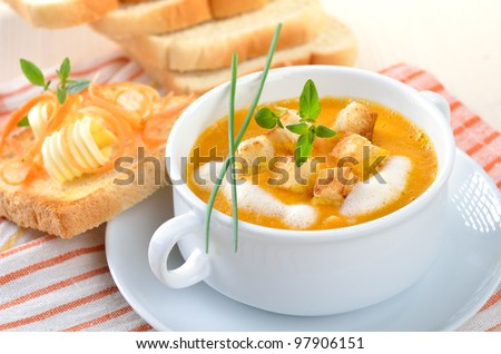 Carrot cream soup with croutons