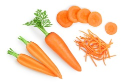 Carrot isolated on white background. Top view. Flat lay