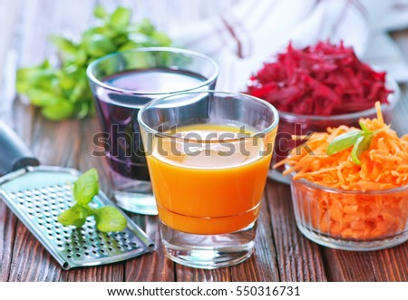 carrot juice and beet juice in the glasses