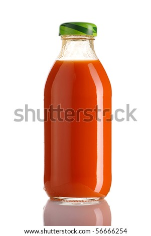 Carrot juice bottle isolated on white