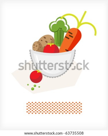 Carrot, potato, tomato and lettuce in the open cup. Illustration