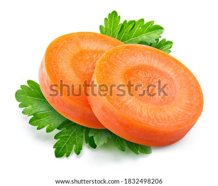 Carrot slice. Carrot slice isolate. Carrots, parsley on white background. Vegetable with herbs.