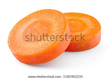 Carrot slice. Carrot slices isolated on white. Carrots isolate. Full depth of field. With clipping path