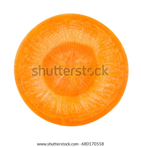 Carrot slice. Carrot top view. Top view of carrot isolated on white.